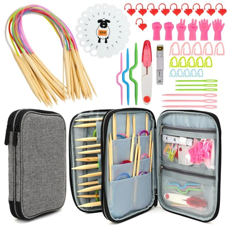 Aluminum Circular Knitting Needles Set Interchangeable Crochet Needles Beginners Knitting Accessories Kit Hand Weaving Supplies