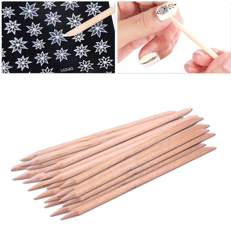New 2019 Fashion 20pcs/set Orange Women Lady Double End Nail Art Wood Stick Cuticle Pusher Remover Pedicure Manicure Tool