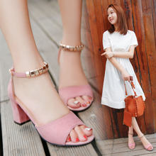 Summer Roman thick heel fish mouth open toe sandals Korean style buckle fashion sandals thick heel women's shoes