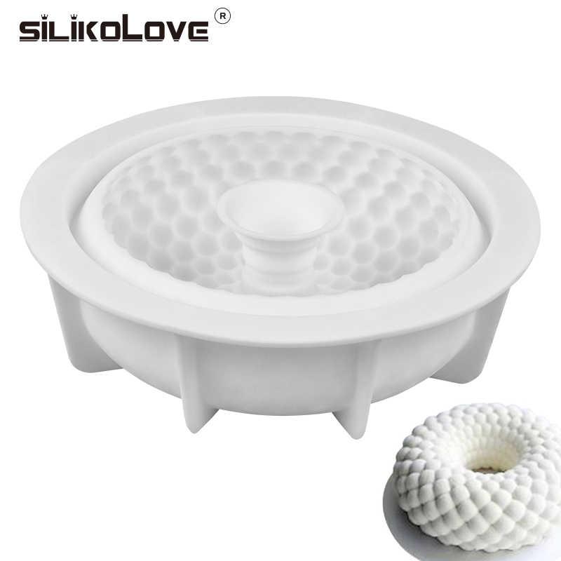 SILIKOLOVE silikon kalıp Yuvarlak Izgara Şekilli pişirme tepsisi Kek Kalıbı Dekorasyon Aracı yapışmaz Bakeware Pasta Silikon Kek Kalıbı