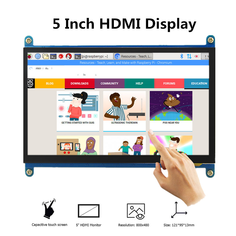 Hottest Selling 5 inch LCD Display Portable Monitor HDMI 800 x 480 Capacitive Touchscreen Raspberry Pi 4 Displays Touch Screen