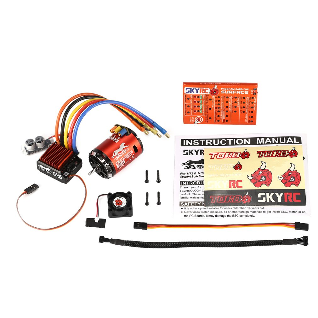 SKYRC 4000KV 8.5T 2P Sensored Brushless Motor+CS60 60A Sensored ESC+LED Program Card Combo Set For 1/10 1/12 RC Buggy Car