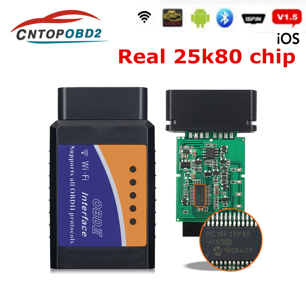 ELM327 V1 5 PIC18F25K80 Elm 327 V1 5 Bluetooth OBD2 Scanner Elm 327 WIFI 1 5 Auto Diagnostic Tool OBDII for Android IOS Windows