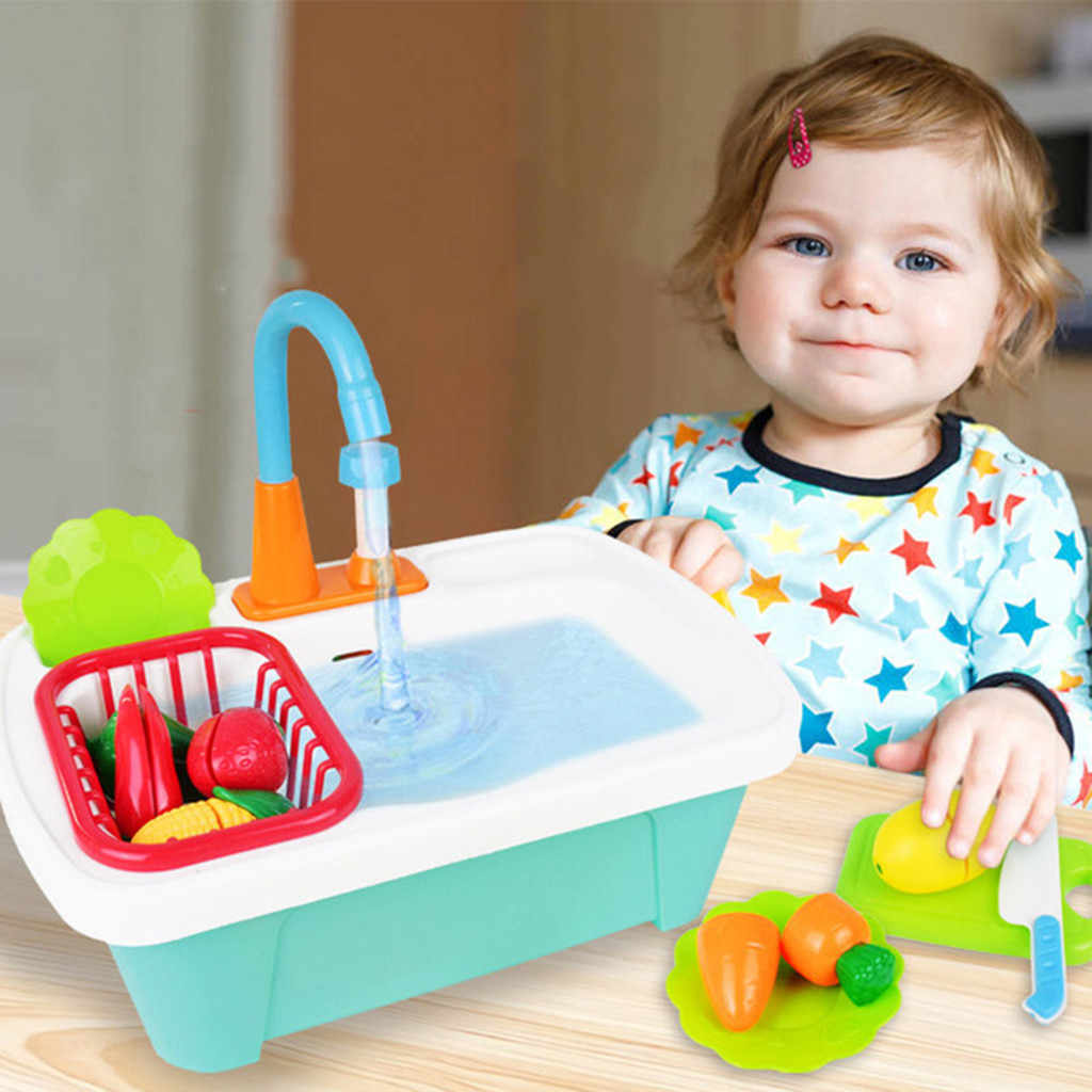 children pretend role play kitchen sink toy dishwasher playing toy with running water play classic kid educational toy gift m50
