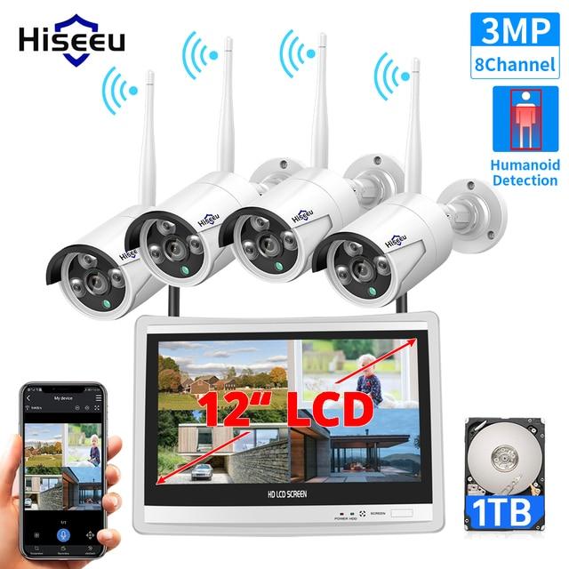 "Hiseeu All In One Met 12 ""Lcd Monitor Draadloze Bewakingscamera Home 8CH 3MP Nvr Kit 4 Stuks 1536P Outdoor Ip Camera H.265 +"