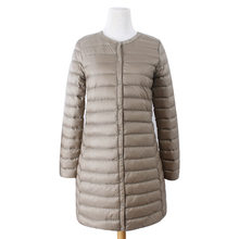 Lightweight down jacket women's long white duck down Korean version of the self-cultivation winter down jacket thin coat(China)