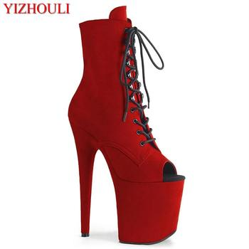 Bag heel suede 20 cm shoes, 8 inch model stiletto heels, fish mouth zipper openings, nightclub pole dancing ankle boots image