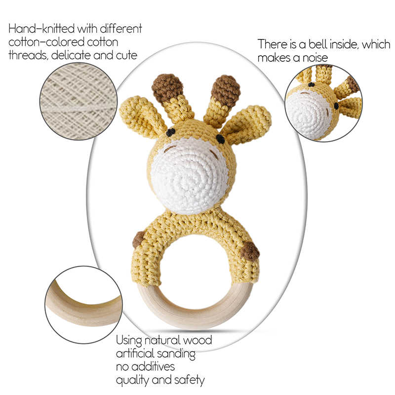 1pc Baby Teether Crochet Animal Rattle Giraffe Personalised Dummy Soother Chain Holder Teething Bracelet Wooden Rodent Gym Toys
