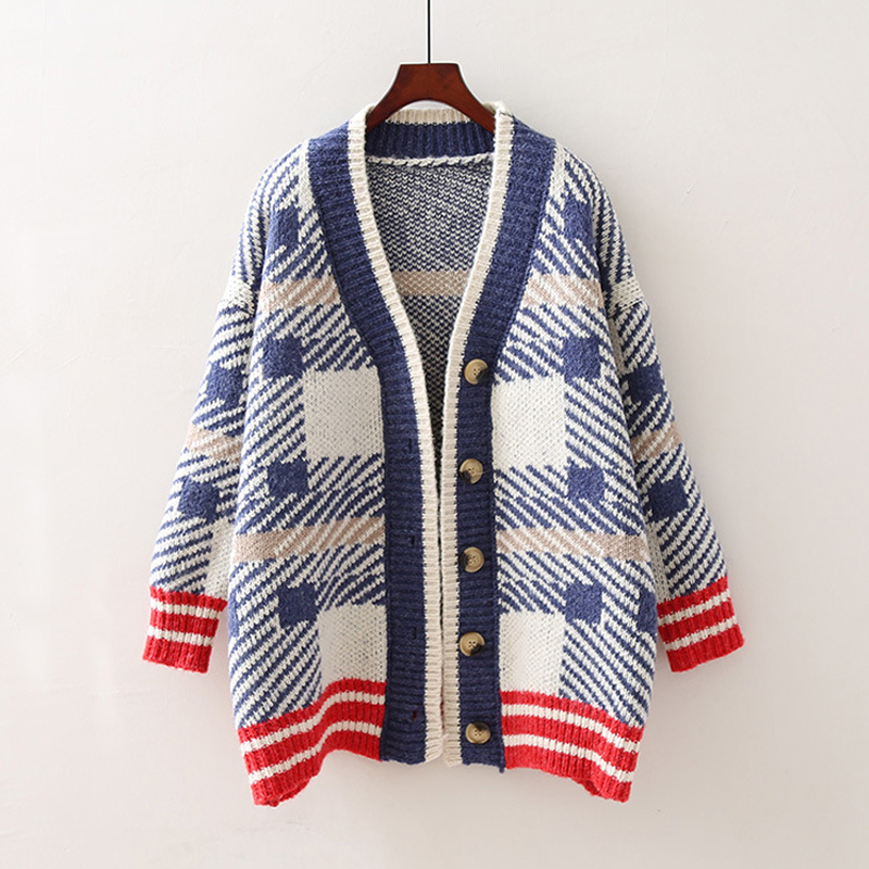 Korean Style 2019 Women Autumn Cardigan Knitted Plaid Breasted Button Female Outwear Sweaters Long Cardigans Sweater Jacket