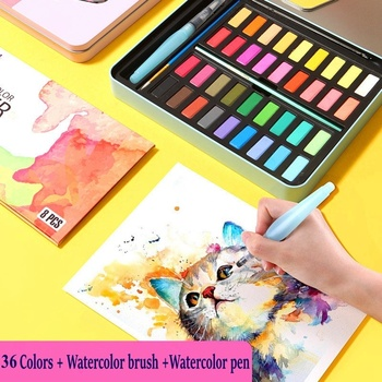 Professional Solid Watercolor Paint Set 36 Colors Art Set With Water Brush Pen Watercolor Painting Pigment A2001-5 21 colors solid watercolor palette pigment powder paint set with water brush watercolor paper watercolor pen watercolors box set