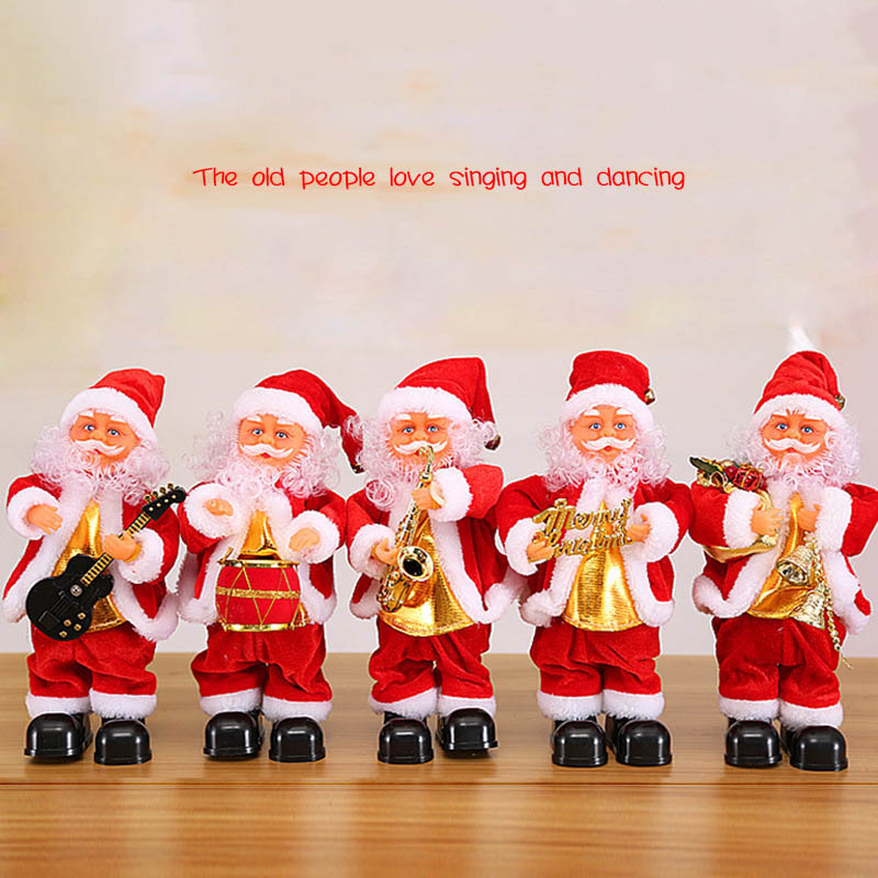 Cute Santa Claus Dancing Singing Music Toy Plush Christmas Dolls Electric Toys Saxophone Guitar High Quality