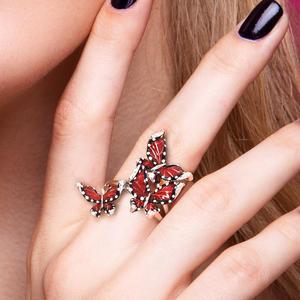 Image 5 - SANTUZZA Silver Ring For Women Genuine 100% 925 Sterling Silver Red Butterflies Trendy Fashion Jewelry Handmade Enamel