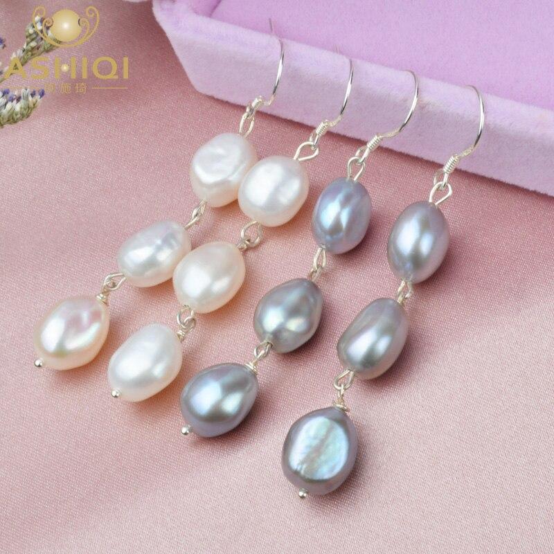 ASHIQI Natural Baroque Pearl Long Earrings For Women Gray Freshwater Pearl Handmade 925 Sterling Silver Drop Earrings Party Gift