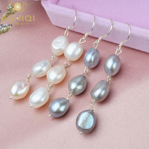 ASHIQI Natural Baroque Pearl Long Earrings For Women Gray freshwater pearl Handmade 925 Sterling Silver drop earrings Party Gift(China)