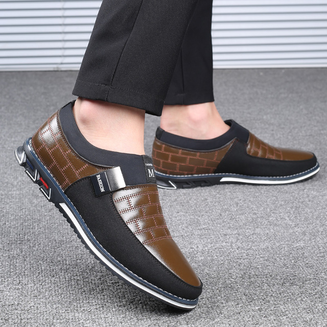 38-46 NEW Genuine Leather Casual Loafers Slip on Driving Shoes 5