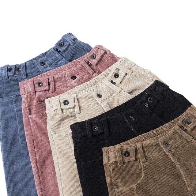 2020 Autumn Winter Corduroy Harem Pants Women Girls Fashionable High Waist Sweatpant Casual Loose Long Plus Velvet Warm Trousers