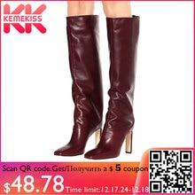 KemeKiss/Сапоги до колена размера плюс 35-48, женские теплые зимние сапоги на меху нового дизайна, модные женские сапоги на высоком каблуке, женская обувь