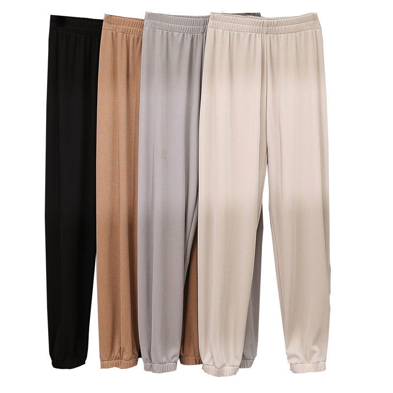 Fashion Women Loggings Ice Silk Cargo Pants Trousers High Elastic Waist Loose Pants Joggers Gray Sweatpants Capris Clothes