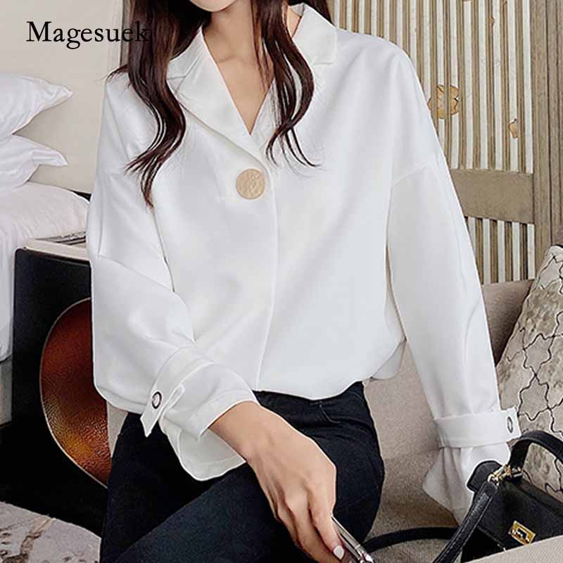 2020 New Autumn Office Lady Button Pullover Sweet Notched Ladies Women's Blouse Long Sleeve Chiffon Shirt Blusas Mujer <font><b>10697</b></font> image