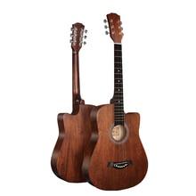 No logo 38 inches folk guitar Russian basswood guitar brown acoustic guitar send a waterproof bag
