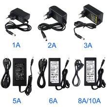 Dc 12v 1a 2a 3a 5a 6a 8a 10a adaptador de alimentação do interruptor AC100V-240V ue/eua/reino unido/au carregador adaptador universal para tiras de luz led