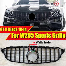 W205 GT R Style Front Grill Grille ABS Black With Camera For MercedesMB C Class Look Grills C200 C250 C300 350 Without Sign 19+