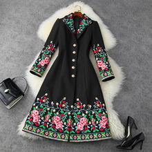 2020 new Retro embroidered coats Woolen coat thickened warm long coat fashion Retro Chinese Style Women Clothing Winter Jacket