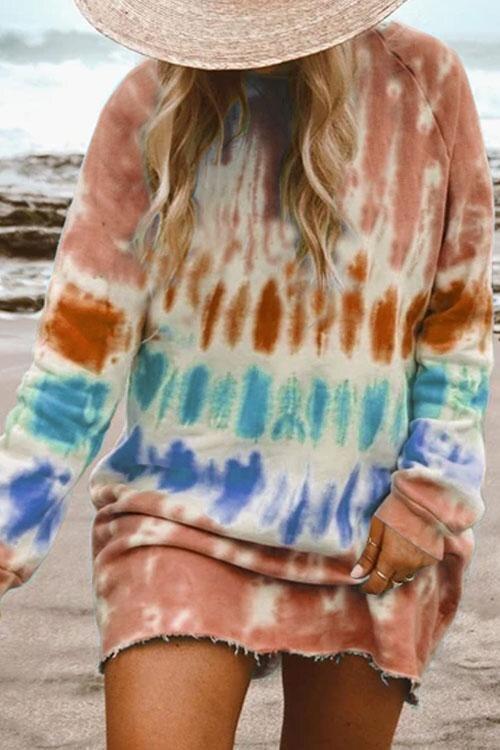 hirigin New Casual Rainbow Tie Dye Print Sweatshirt Dress for Women Long Sleeve O-Neck Mini Dress Female Loose Straight Dress 2
