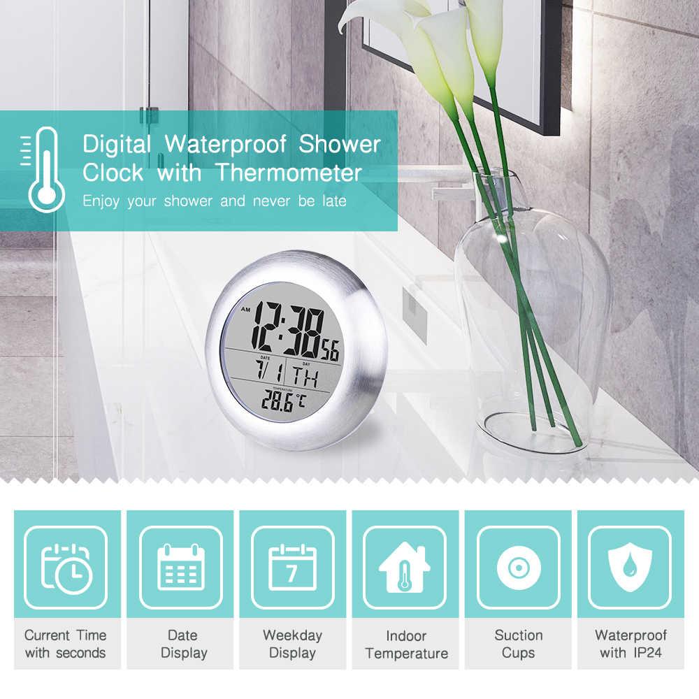מעשי מסך עמיד למים דיגיטלי אמבטיה קיר שעון טמפרטורת לחות ספירה לאחור זמן פונקציה לשטוף מקלחת תלייה