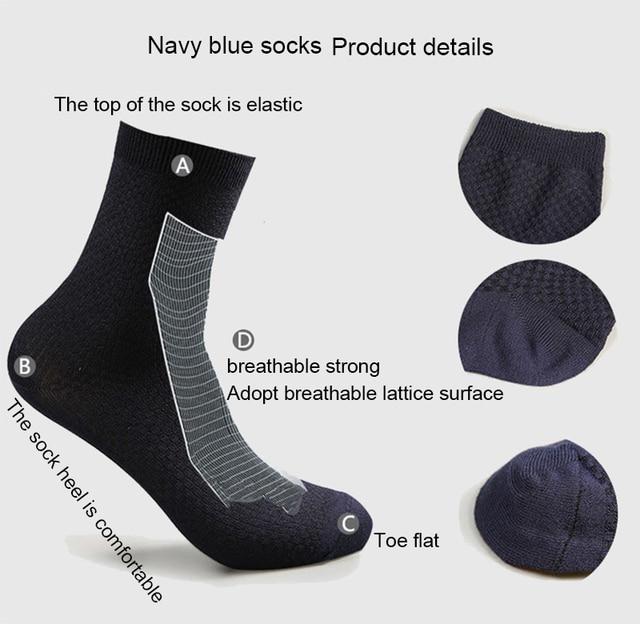 10 Pairs/Lot Men Bamboo Fiber Socks Casual Socks For Gift Plus Size 43-46 4