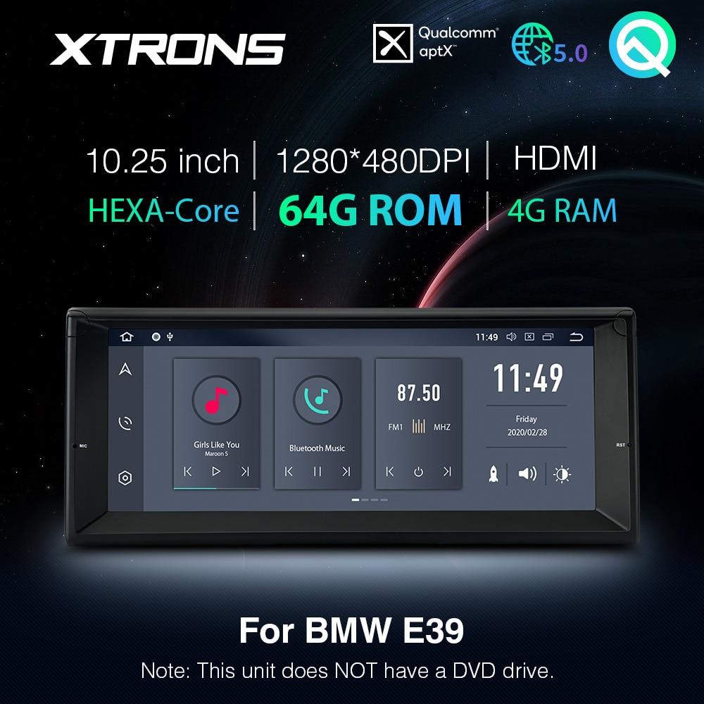 Автомобильный радиоплеер XTRONS Qualcomm Bluetooth 5,0 AptX 10,25 ''Android PX6 GPS HDMI для BMW E39 M5 1999-2003 7 серии E38 без DVD