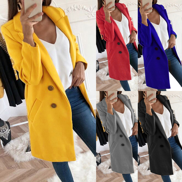 Sfit Fashion Autumn Long Coat Women Turn Down Collar Solid Yellow Coat Casual Lady Slim Elegant Blends Outerwear Clothes2