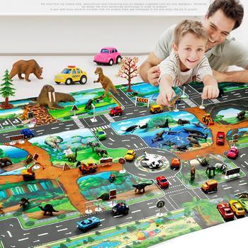 100x130cm Traffic Route Dinosaur World Pattern Play Mat Pad Carpet Room Decor