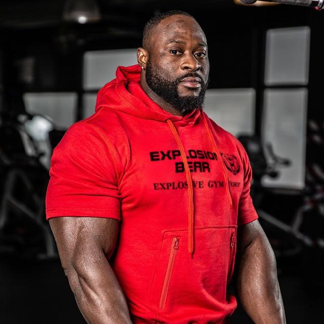 חדש קצר שרוול ברדס שרירים גברים כושר פיתוח גוף נים בגדי אימון מקרית כותנה חולצות סלעית אפוד מותג בגדים