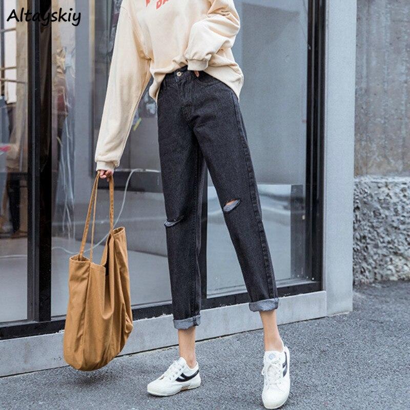 Black Jeans Woman Plus Size All Match Vintage Hole Street Style Korean Fashion Womens High Waist Denim Trousers Streetwear Chic