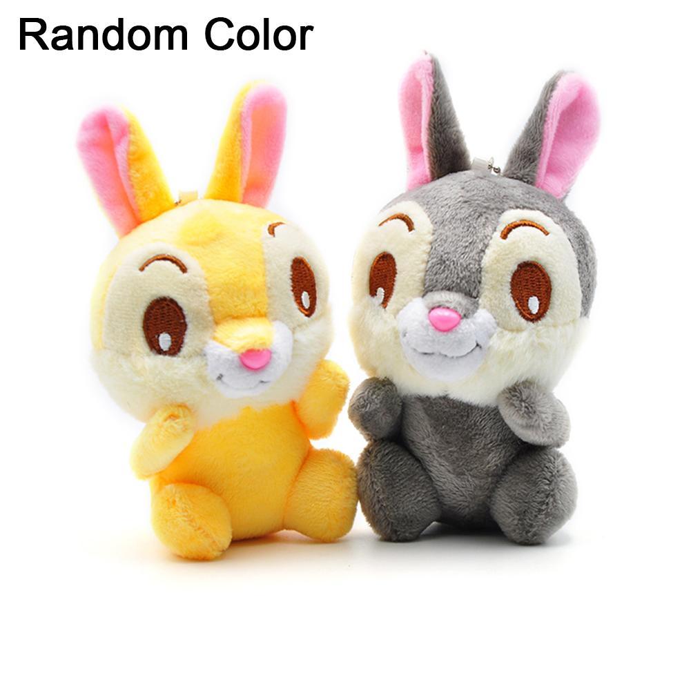 10cm Cute Plush Bunny Keychain Women Fur Pom Pom Angel Rabbit Key Ring Hare Pompom Plush Dolls Toy Girls Bag Car Key Pendant