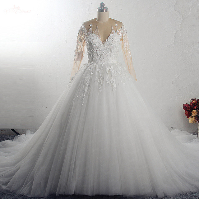 RSW1549 Robe De Mariee Illusion Back Buttones Flower Dress Princess Full Sleeves Wedding Gowns