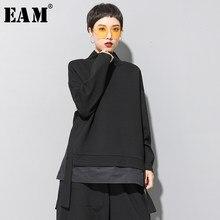 [EAM] suelta asimétrica sudadera nueva de cuello alto de manga larga de las mujeres de moda de gran tamaño primavera otoño 2021 19A-a124
