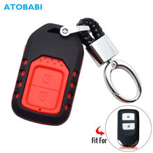 ATOBABI Car Key Case For Honda City Jazz XRV Venzel HRV FIT 2 Button ABS and Silicone Remote Fobs Shell Cover Combined Keys Bag(China)