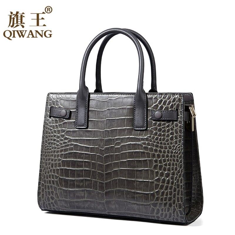 Маленькая Черная Сумочка для женщин, сумки на плечо из натуральной крокодиловой кожи Qiwang, роскошная дизайнерская сумочка, Офисная женская с... - 4