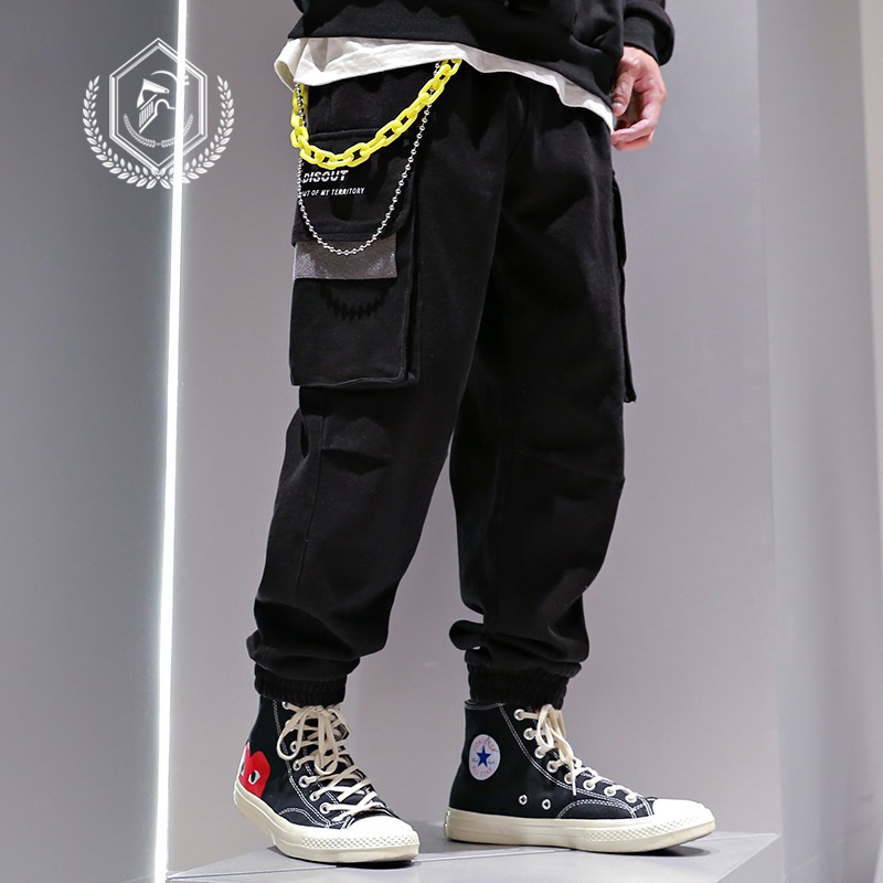 Men Loose Safari Style Pockets Harem Jogger Pants Fashion Ankle-Length Hip Hop Pants
