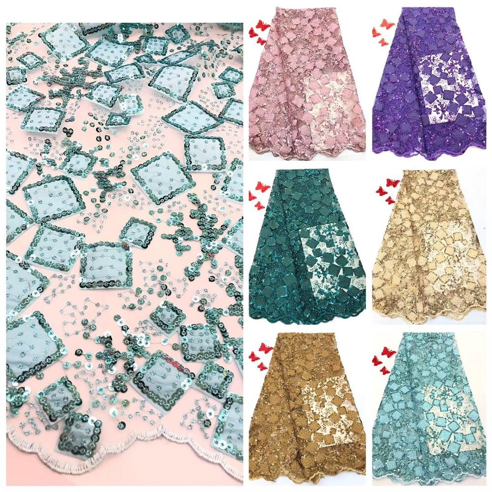 Latest Nigerian Sequin Lace Fabrics 2019 French Swiss Tulle Lace Fabric African Voile Lace Fabric For Wedding Party Dresses