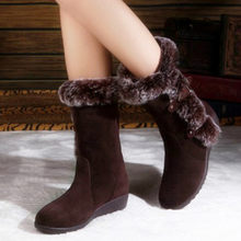 New Hot Women Boots Autumn Flock Winter Ladies Fashion Snow Boots Shoes Thigh High Suede Mid-Calf Boots 2020(China)