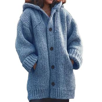 2020 Free Shipping Winter Solid Color Pockets Warm Women Sweaters Cardigans Knitted Cardigan Femme Streetwear Outwear Coat