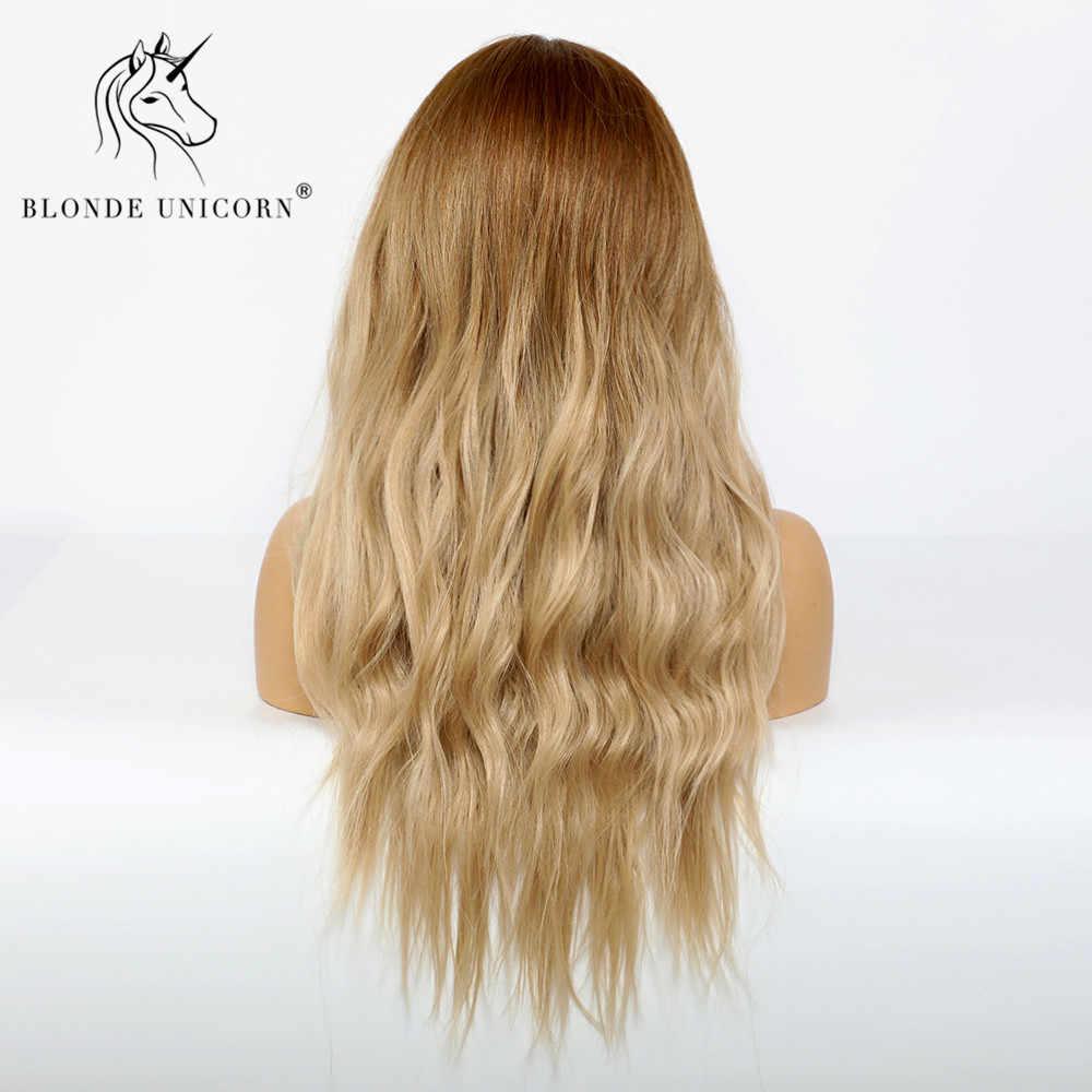 Blond jednorożec syntetyczny ciemny odrost Ombre jasnobrązowy peruka dla czarnych białych kobiet centrum część włosy falowane peruki żaroodporne