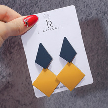 S925 Silver Needle Literary Fan Retro Geometric Splicing Irregular Earrings Korea Joker