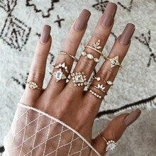 VAGZEB 12 Pcs/set Women Vintage Crystal Zircon Flower Ring Gold Finger Set Boho Charm Wedding Jewelry Engagement