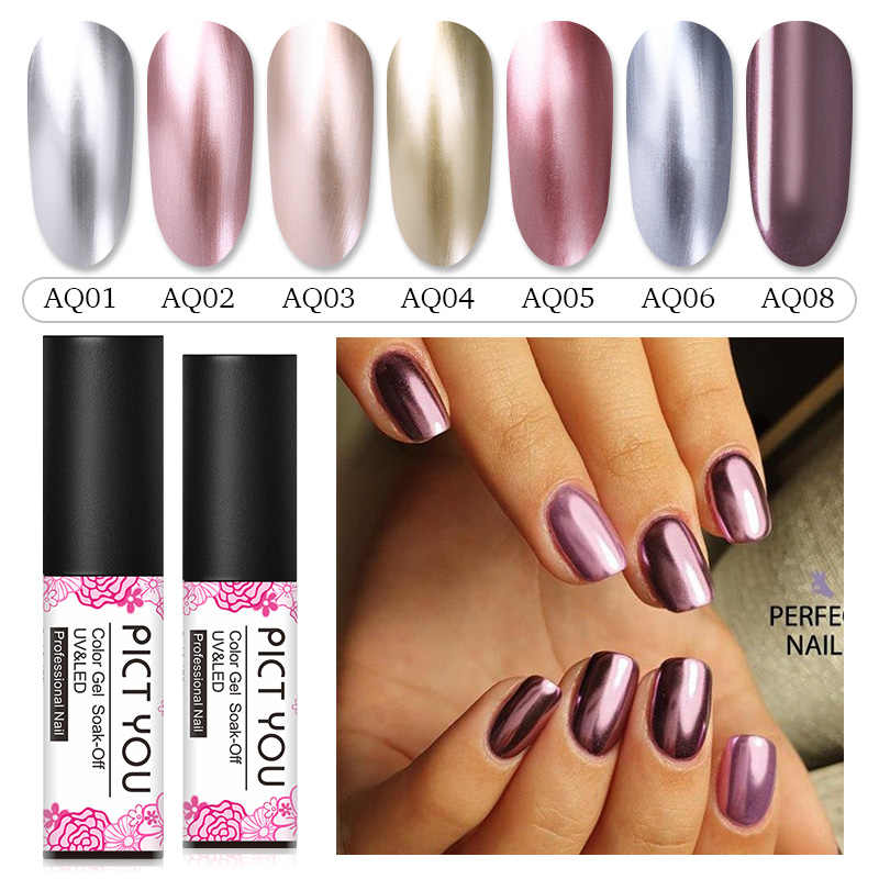 Pict Anda 1 Botol 5 Ml Cermin Logam Gel Polandia Silver Rose Gold Nail Art Gel Polish Rendam Off UV gel Logam Kuku Pernis