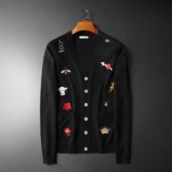 Neue Männer Luxus stickerei Biene Schlange Crown UFO leopard Stricken Casual Pullover Strickjacken Asiatischen Stecker Größe Hohe qualität Drake # m95