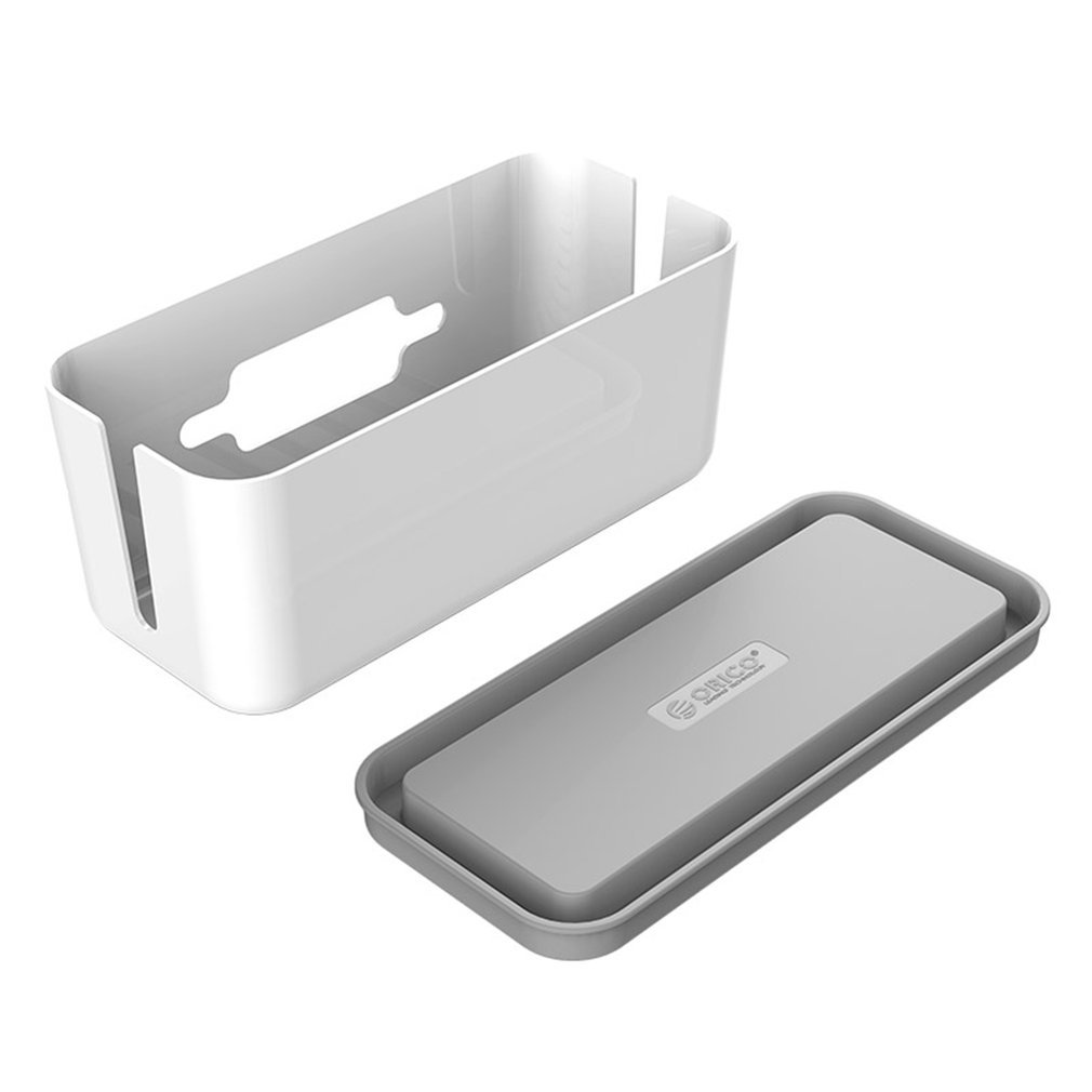 Portable Hard Plastic Desk Organizer Cable Winder Container Case Power Strip Storage Box And Dustproof Cover For Home